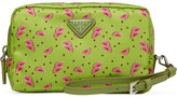 Prada Textured Leather-trimmed Printed Shell Cosmetics Case - Green