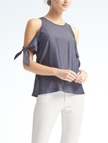 Banana Republic Cold-Shoulder Chambray Top