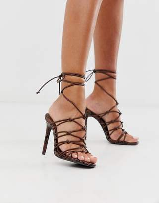 Asos Design DESIGN Night strappy heeled sandals in chocolate snake-Brown