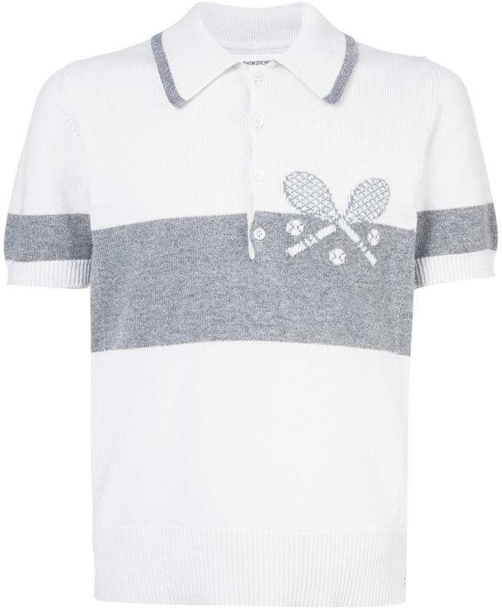 Thom Browne Short Sleeve Polo With Striped Tennis Icon In Cashmere