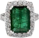 Fashion Strada 6 Carat Natural Emerald and Diamond 14K White Gold Luxury Engagement Ring for Women