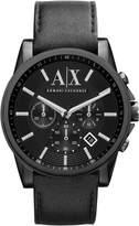 Armani Exchange Men's 45mm Chronograph Black Leather Date Watch AX2098