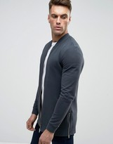 Asos Muscle Fit Bomber With Side Zips In Washed Navy