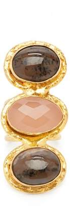 Sylvia Toledano - Onyx And Rhodochrosite Triple Gem Ring - Womens - Pink