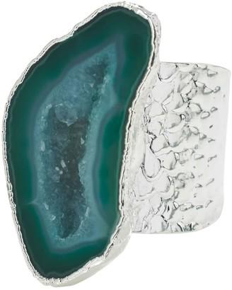 Yaa Yaa London Silver Green Gemstone Mega Ring