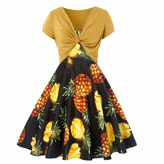 NEEDRA Dresses Womens Summer Pineapple Dress Sling Pullover Pullover Two-Piece Set Party Evening Formal Yellow