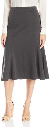 Notations Women's Solid Midi Flare Panel Skirt