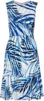 Eliza J Palm Print Frill Hem Dress
