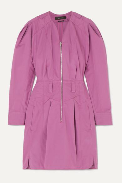 Isabel Marant Honey Ruffled Cotton-twill Mini Dress - Magenta