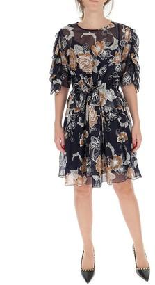 See by Chloe Floral Jacquard Sheer Dress