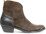 Golden Goose Deluxe Brand Young Distressed Suede And Leather Ankle Boots - Brown