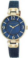 Anne Klein Ladies' Gold-Plated Blue Denim Strap Watch