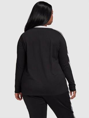 adidas 3 Stripe Long Sleeve T-Shirt(Curve) - Black