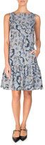 Erdem Paisley Vine Matelasse Sleeveless Flounce Dress, Blue/Pink