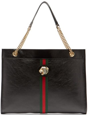 Gucci Rajah Web-striped Leather Tote Bag - Black Multi