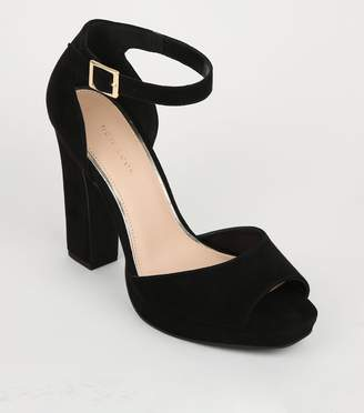 New Look Suedette Peep Toe Platform Block Heels