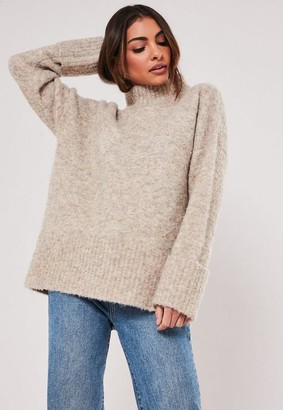 Missguided Premium Stone Wool Turn Back Cuff Boucle Sweater