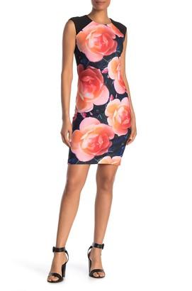 Calvin Klein Floral Print Cap Sleeve Sheath Dress