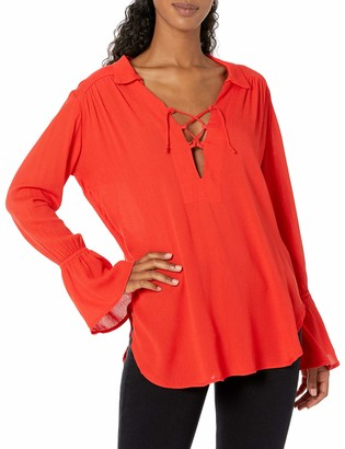 Lucy-Love Lucy Love Women's Lace Up Casanova Belted Top