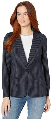 Liverpool Fitted Blazer (Navy/White Pinstripe) Women's Clothing