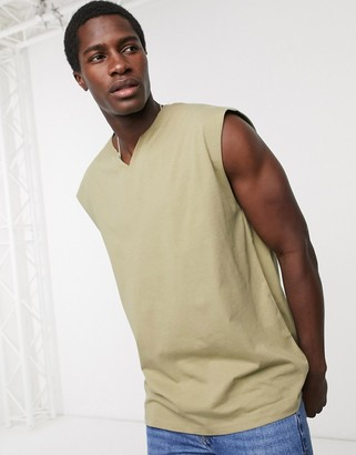 ASOS DESIGN oversized sleeveless t-shirt with notch neck in green