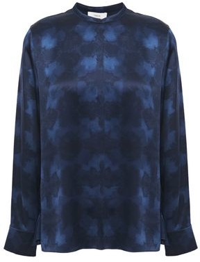 Vince Printed Silk-satin Blouse