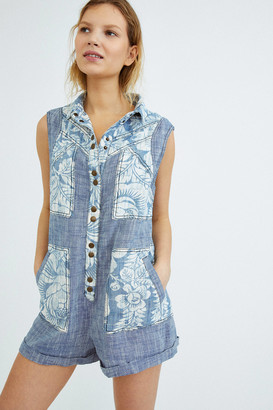 Urban Outfitters Blue Jean Button-Front Romper