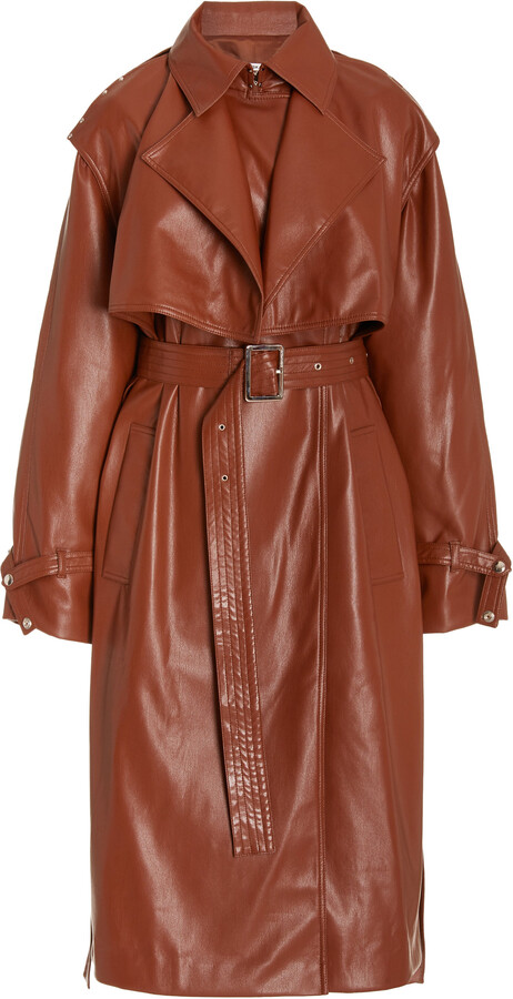 Womens Brown Leather Trench Coat, Womens Faux Leather Trench Coat Uk