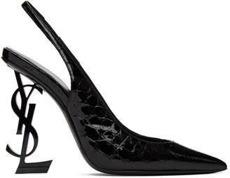 Saint Laurent Black Croc Opyum 110 Slingback Heels
