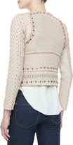 Rebecca Taylor Embroidered-Front Georgette Blouse