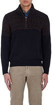 Luciano Barbera MEN'S GEOMETRIC-PATTERN CASHMERE HALF-ZIP SWEATER