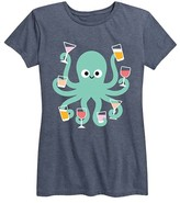 Instant Message Women's Women's Tee Shirts HEATHER - Heather Blue Drink Octopus Relaxed-Fit Tee - Women