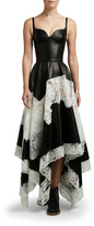 Alexander McQueen Leather Tiered-Lace Cocktail Dress