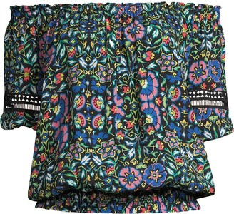 Nicole Miller Floral-Print Off-Shoulder Smocked Top