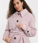 Asos DESIGN Petite brushed belted jacket in pink