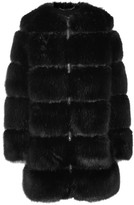 Givenchy Mesh-trimmed Faux Fur Coat - Black