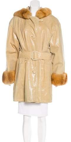 Giuliana Teso Leather Fur-Trimmed Coat