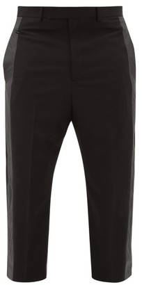 Rick Owens Astaires Cropped Side-stripe Crepe Trousers - Black