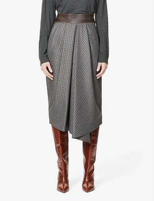Brunello Cucinelli Checked high-rise wool and leather midi skirt