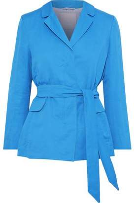 Max Mara Belted Cotton And Ramie-blend Jacket