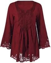 Dezzal Women's Plus Size Bohemian Flare Sleeve Lace Patchwork Tunic Blouse (5XL, )
