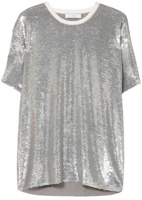 IRO Denim-trimmed Sequined French Terry T-shirt
