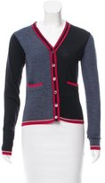 Black Fleece Striped Wool Cardigan