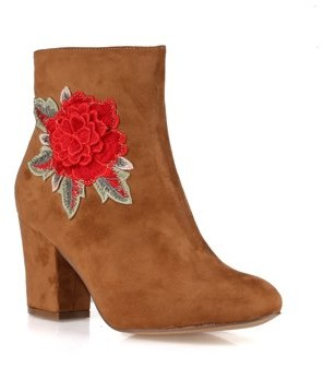 Nature Breeze Embroidered Women's High Heel Booties in Camel