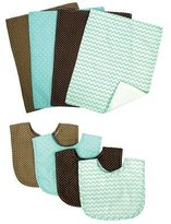 Trend Lab Cocoa Mint 8 PieceBib and Burp Cloth