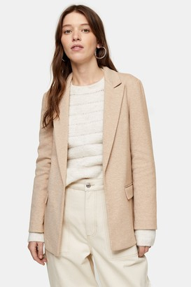 Topshop Womens Tan Slouch Double Breasted Blazer - Tan