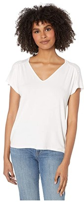 Michael Stars Anita Luze Jersey Ruched Shoulder V-Neck Tee (White) Women's Clothing