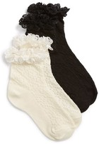 Ruby & Bloom Girl's 'Short & Sweet' Lace Cuff Ankle Socks