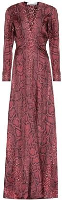 Victoria Beckham Snake-effect silk maxi dress