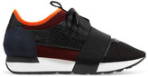 Balenciaga Race Runner Leather, Mesh, Suede And Neoprene Sneakers - Black